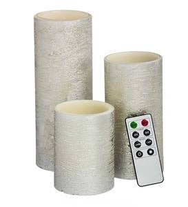 Silver LED Pillar Candles with Remote, Set of 3 - Silver