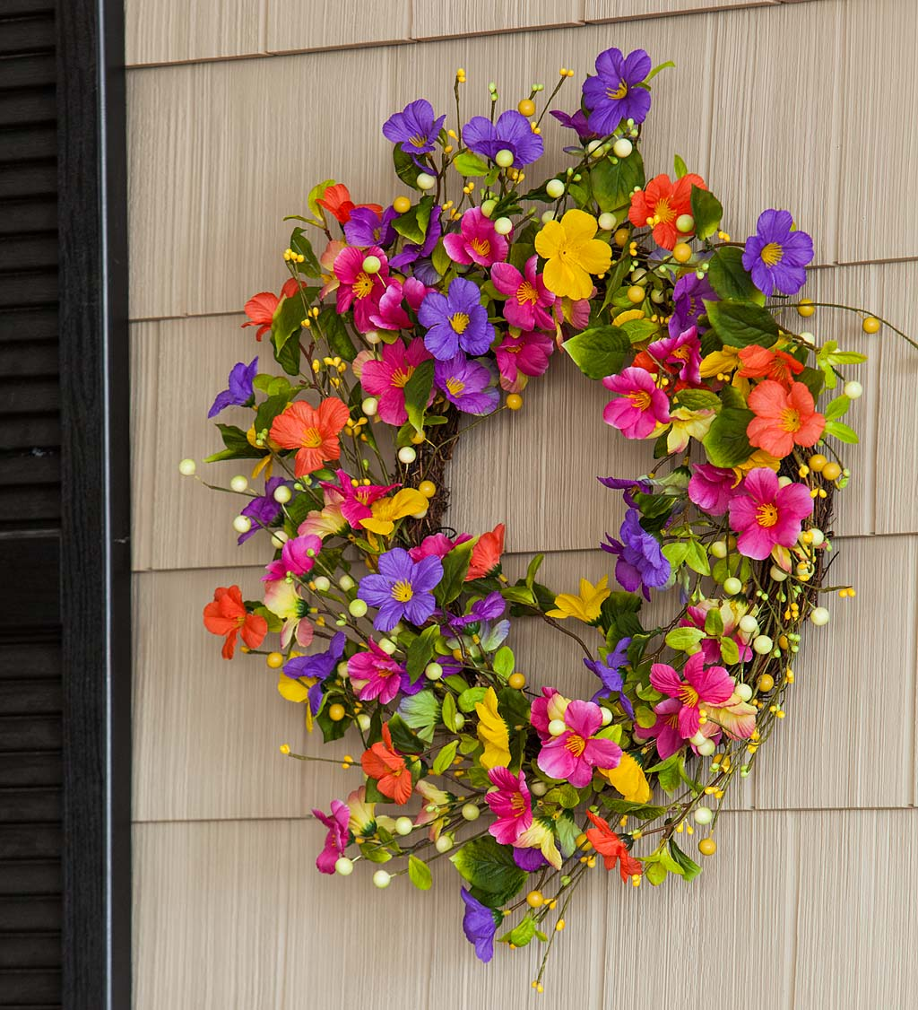 Floral Watercolor Wreath with Faux Pansies and Violets