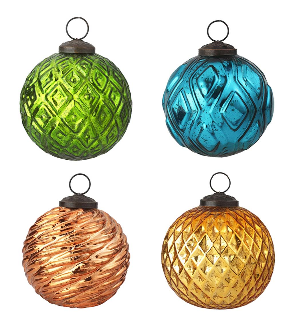 Vintage-Style Round Holiday Ornaments, Set of 4