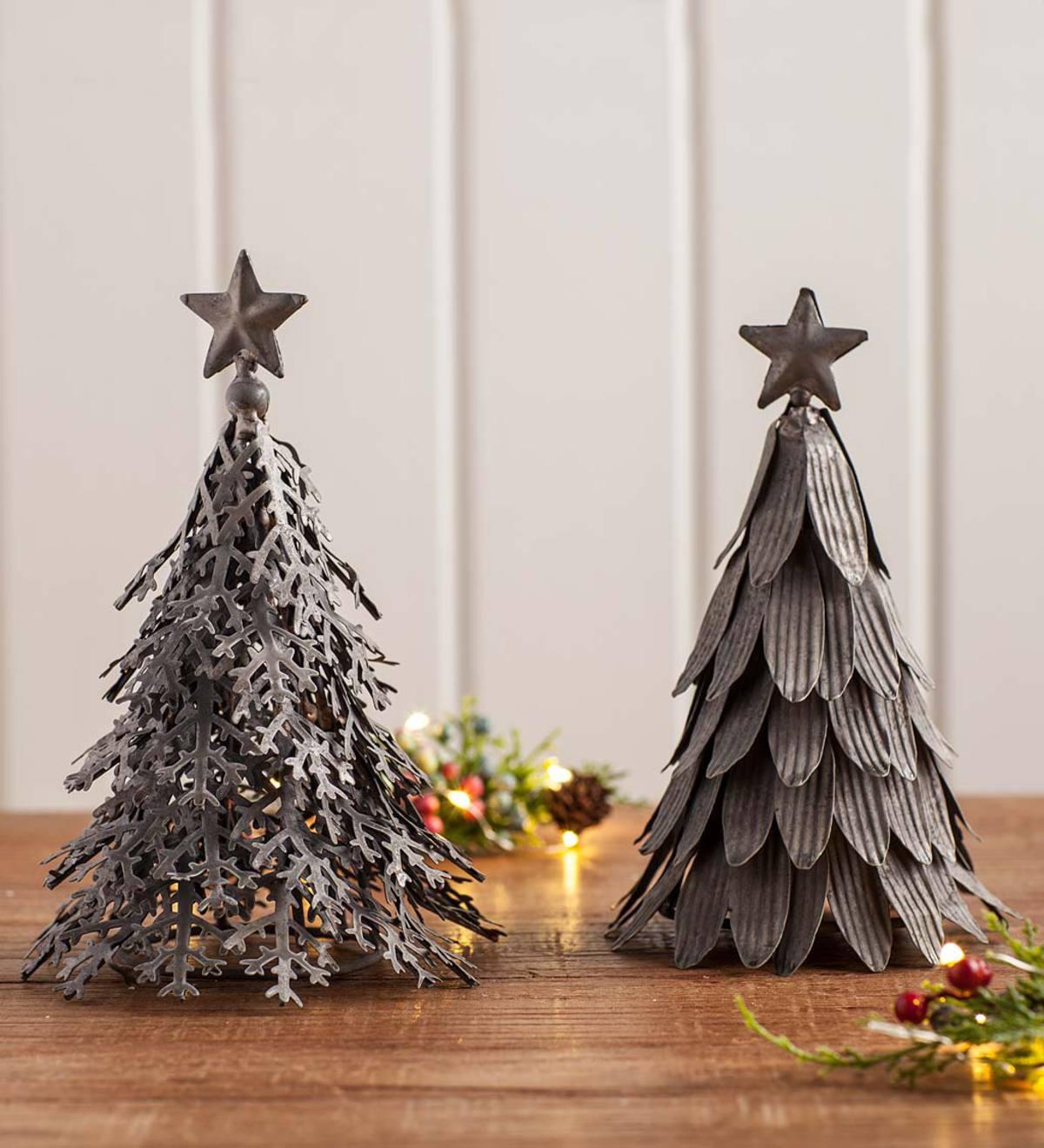 Galvanized Metal Tin Pine Christmas Tree Farmhouse Lodge Votive Candle Holders