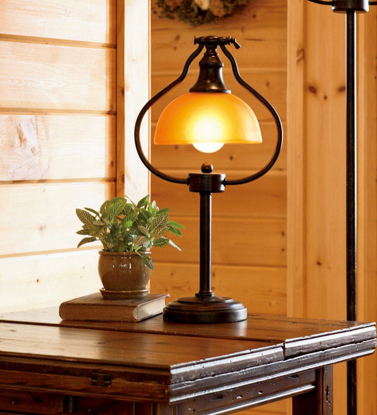 Library Table/Desk Lamp with Amber Glass Shade and Antique Bronze Finish