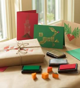 Tangram Holiday Card and Stamp Kit