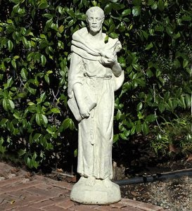 USA-Made Cast Stone Tall Vintage St. Francis Garden Statue