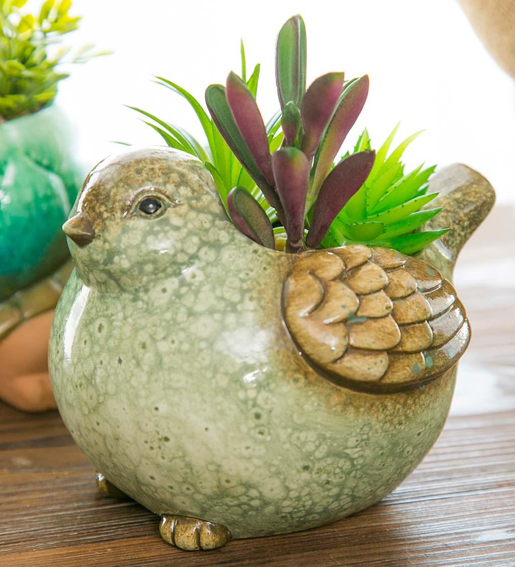 bird planter hummingbirds white green orange ceramic planter home decor