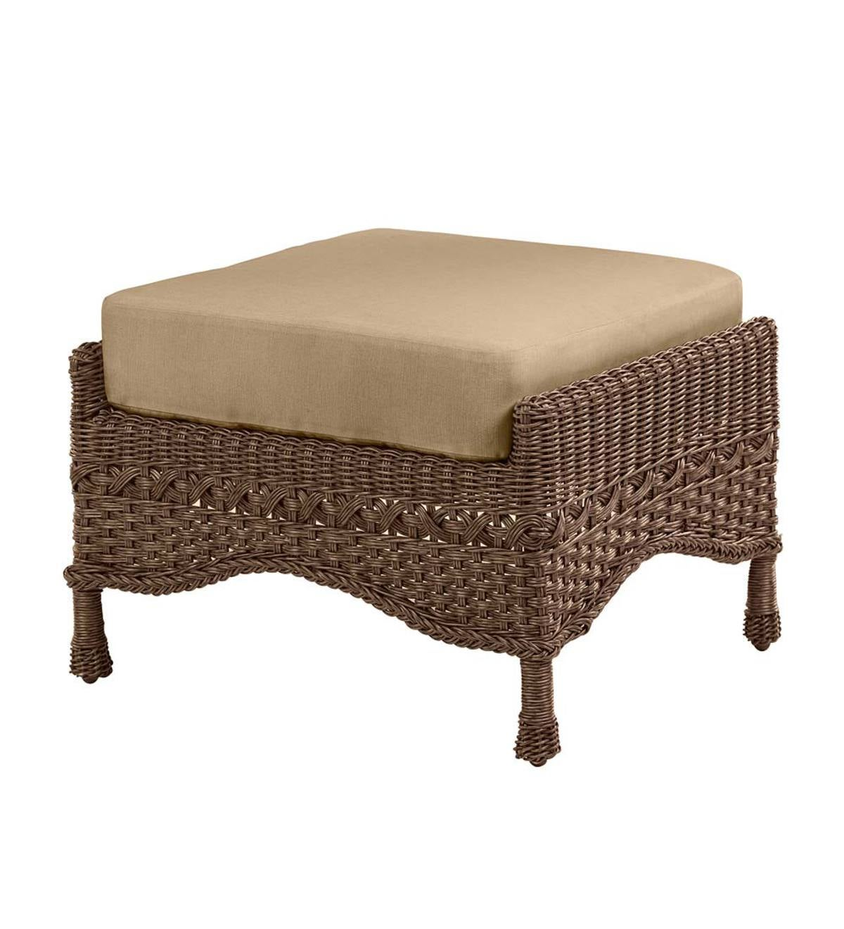 Prospect Hill Outdoor Wicker Deep Seating Ottoman With Cushion