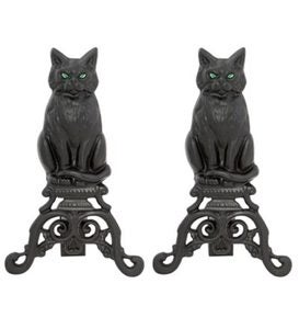 Black Cat Cast Iron Fireplace Andirons, Set of 2