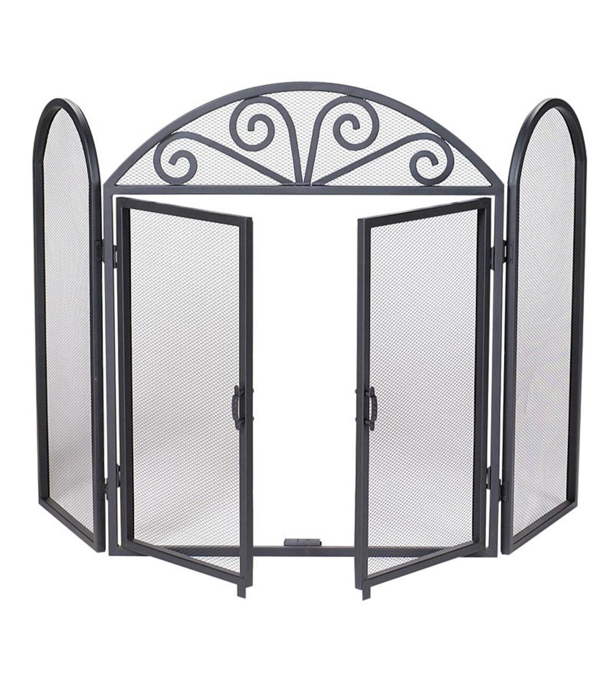 Black Wrought Iron Tri-Folding Fireplace Screen With Doors