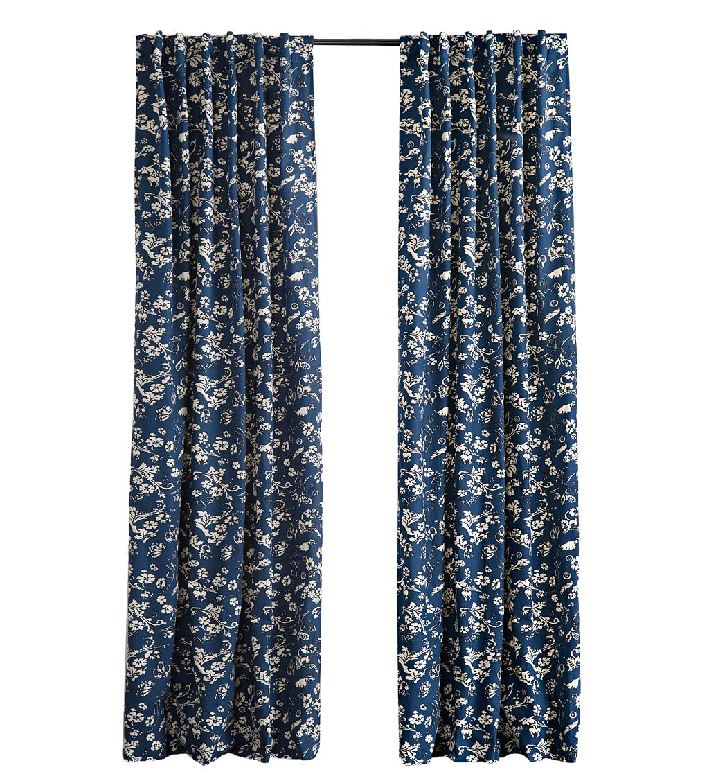 "Insulated Floral Damask Short Panel with Rod Pocket, 42""W x 54""L - Indigo"