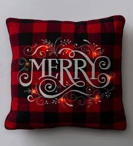 Lighted Holiday Saying Buffalo Plaid Throw Pillow