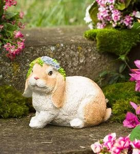Bunny with Succulent Crown Resin Garden Statue