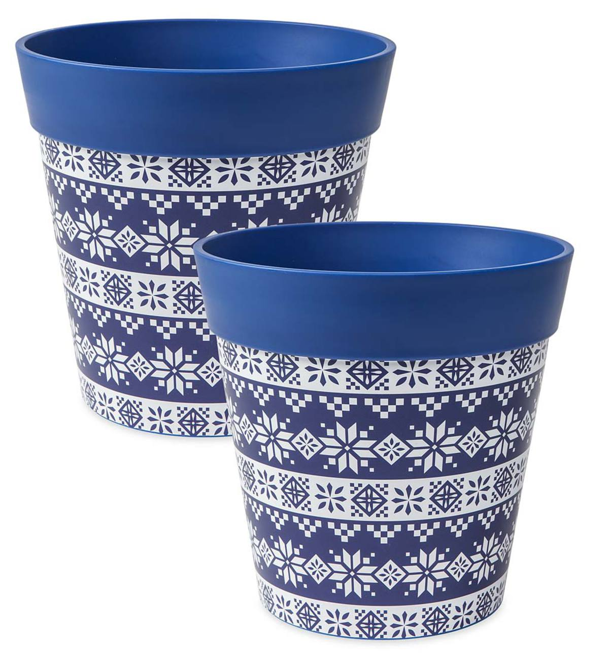 Holiday Hum Pot Colorful Plastic Plant Pots, Set of 2 - Fair Isle