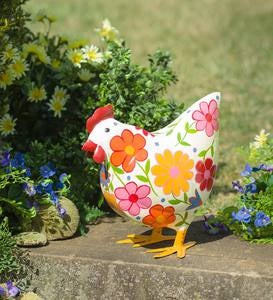 Folk Art Painted Metal Hen