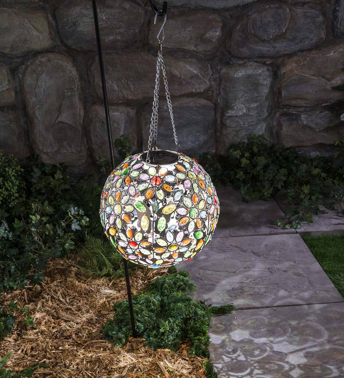 Hanging Solar Multi Butterfly Jewel Ball - Multi