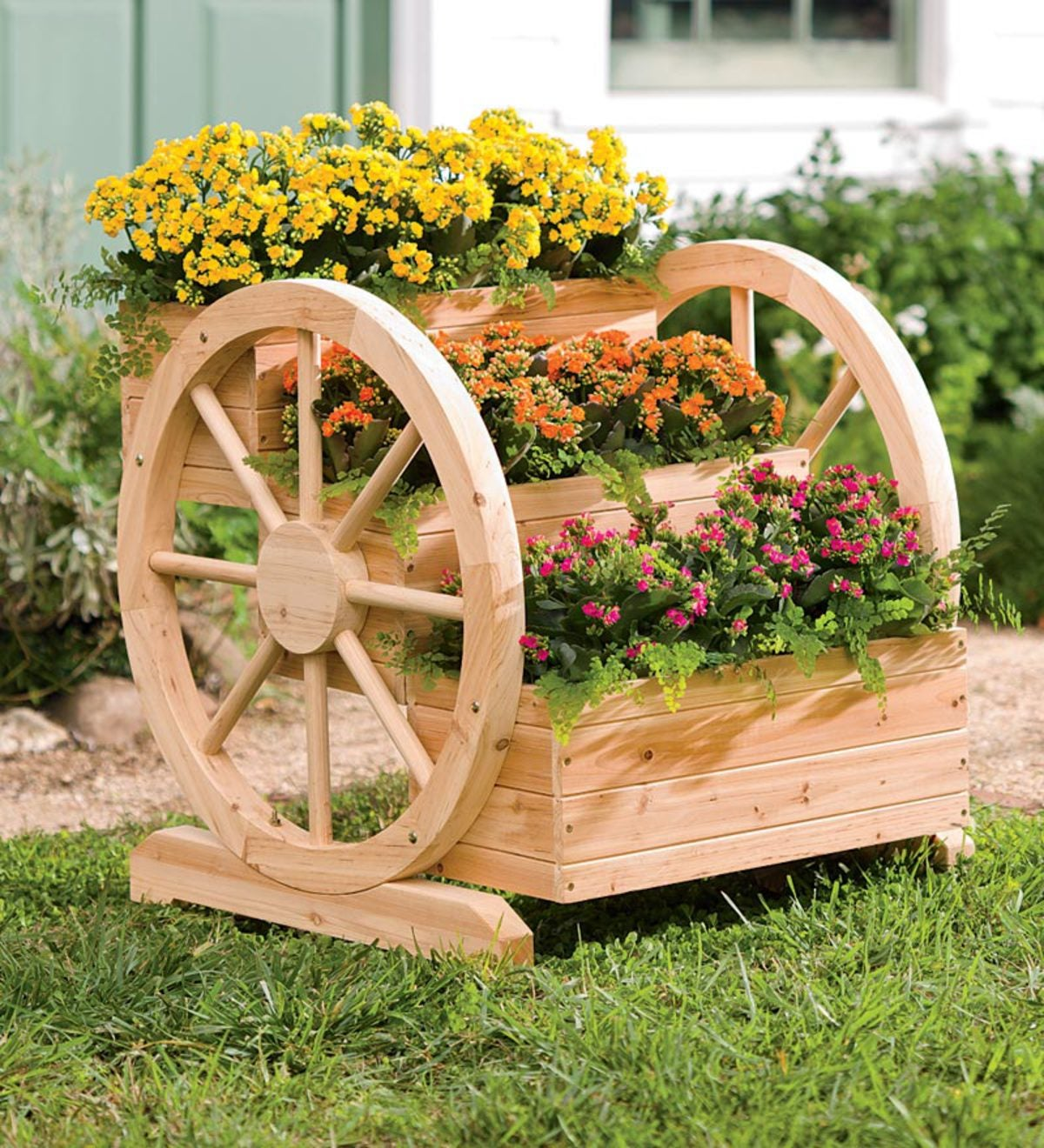 Solid Wood Wagon Wheel Tiered Planter Plowhearth