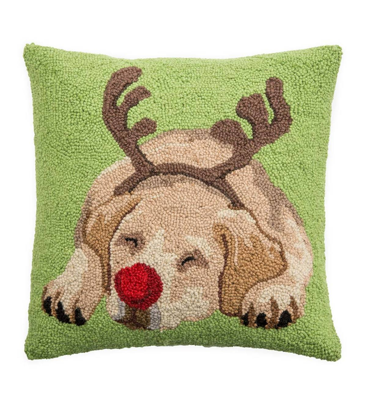Hooked Wool Yellow Labrador With Antlers Holiday Throw Pillow Plowhearth