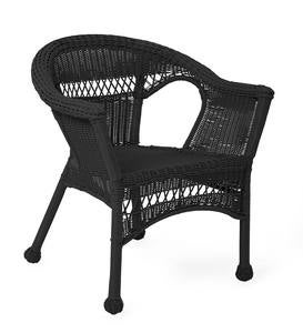 Easy Care Resin Wicker Love Seat, Chairs And Coffee Table Set - Black