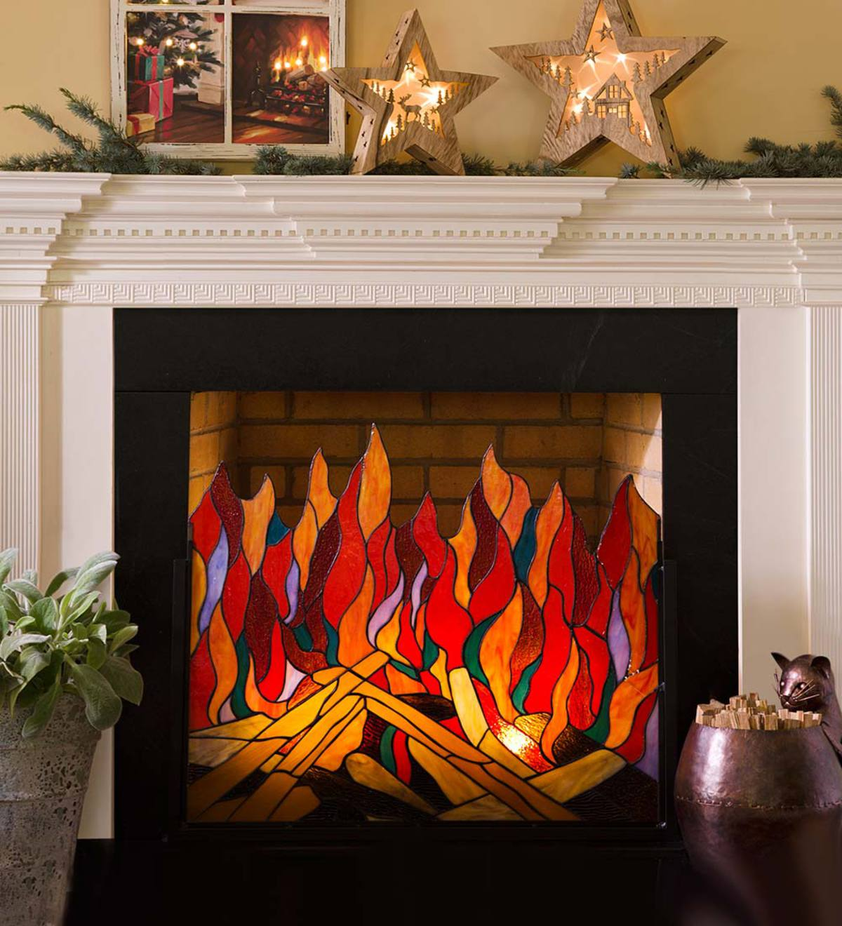 Stained Glass Roaring Fire Fireplace Screen Plowhearth