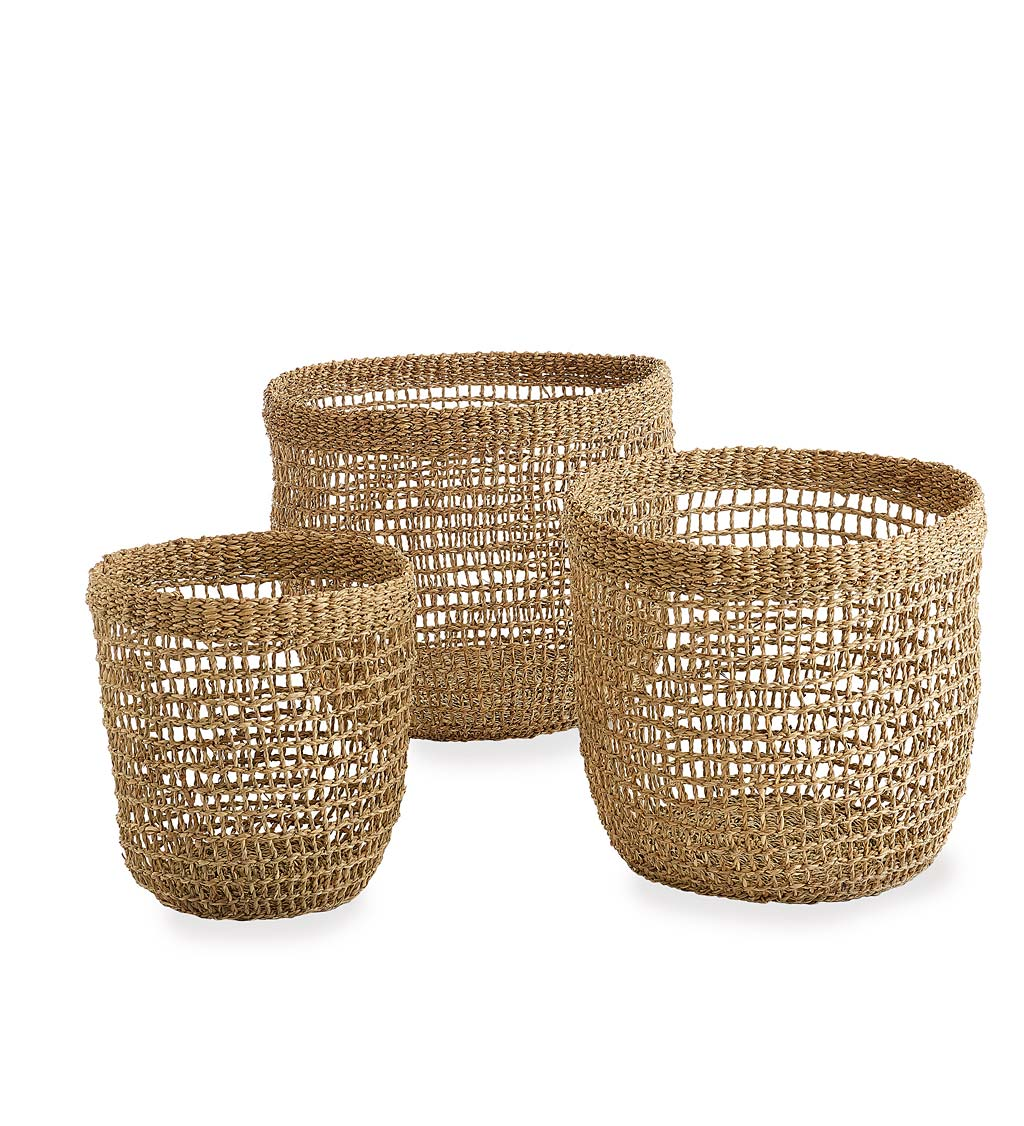 Woven Seagrass Baskets, Set of 3