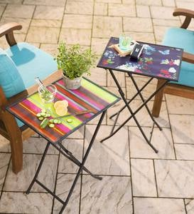 Tempered Glass Folding Tray Table