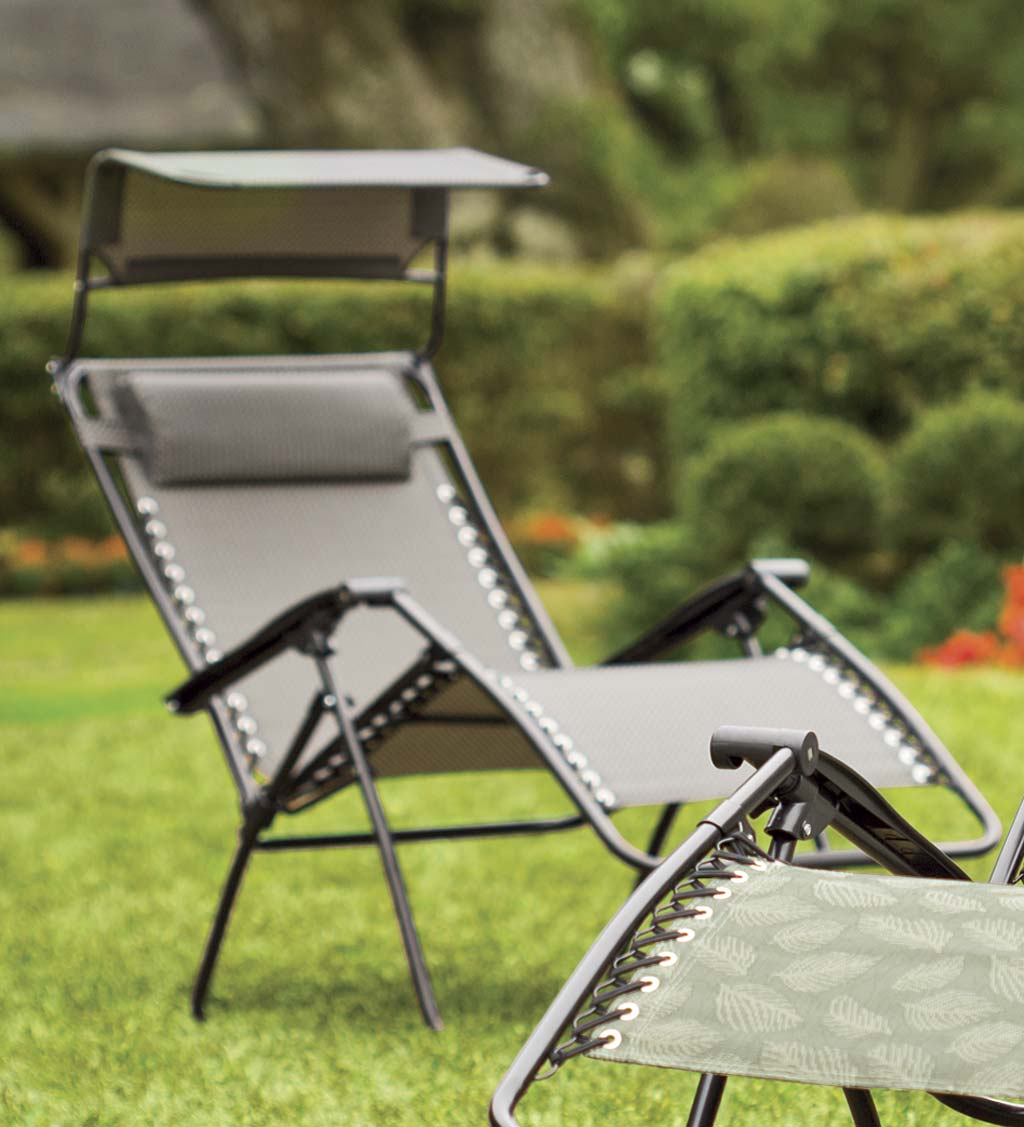 Deluxe Zero Gravity Chair With Awning, Table And Drink Holder