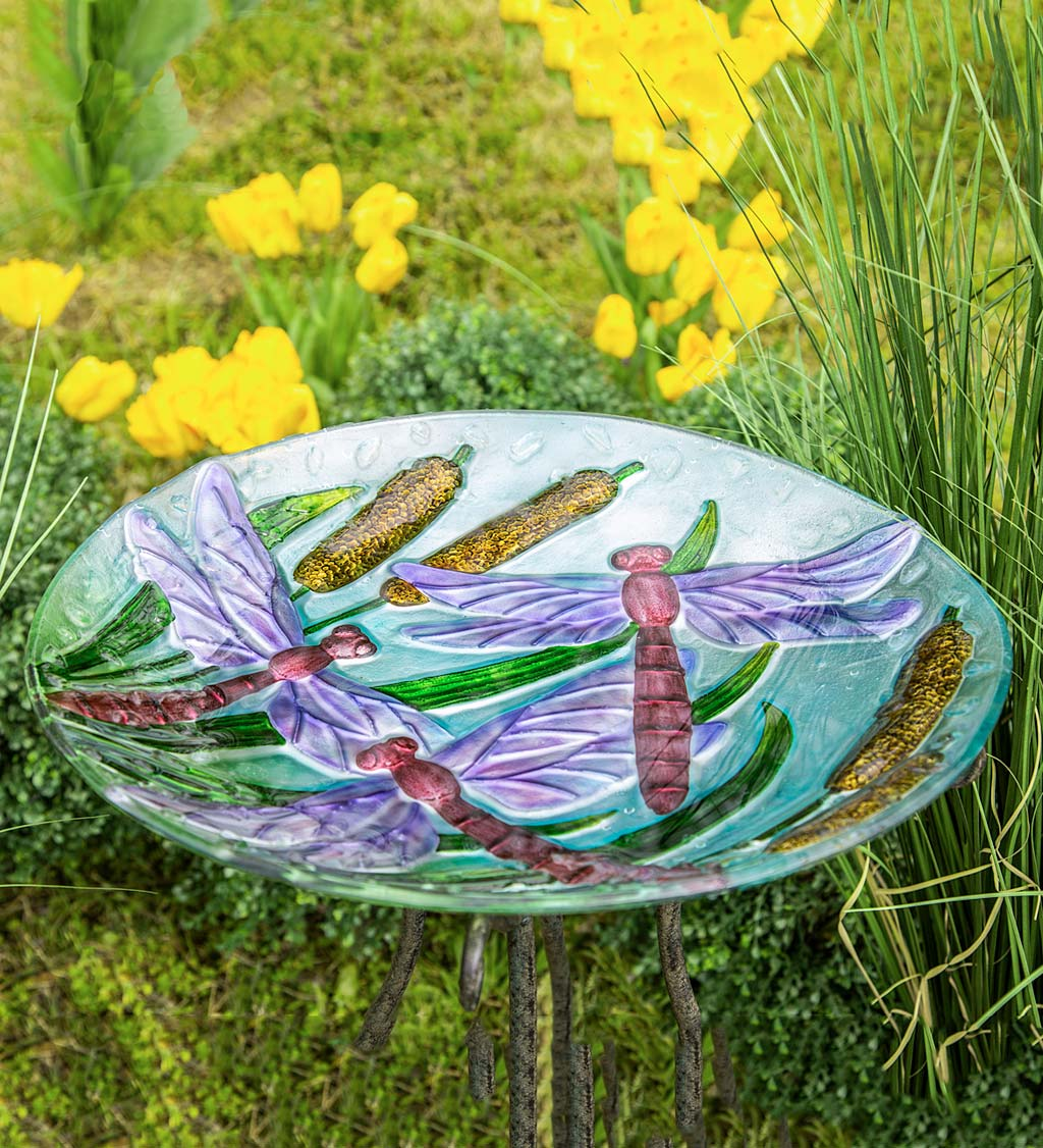 Glass Dragonflies and Cattails Birdbath Basin