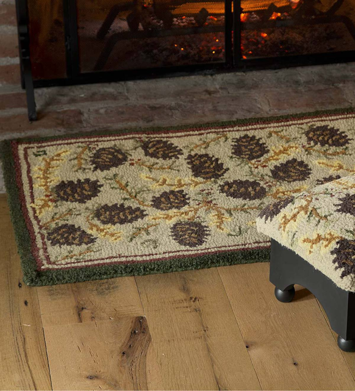 Wool Pine Cone Hearth Rug With Border