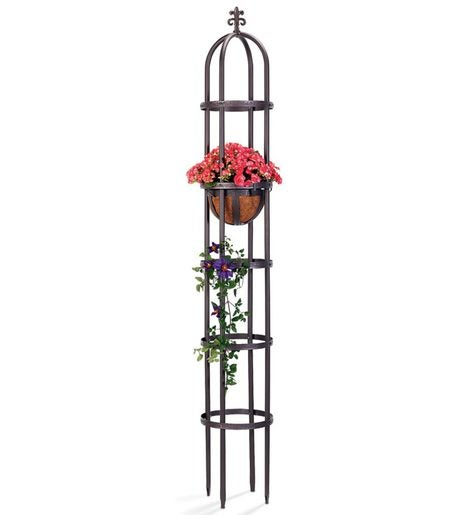 7' Powder-Coated Steel Garden Obelisk
