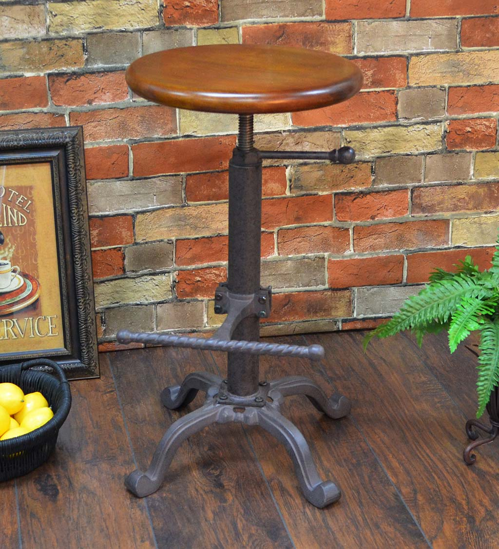 Industrial-Style Adjustable-Height Wood and Metal Stool - Chestnut