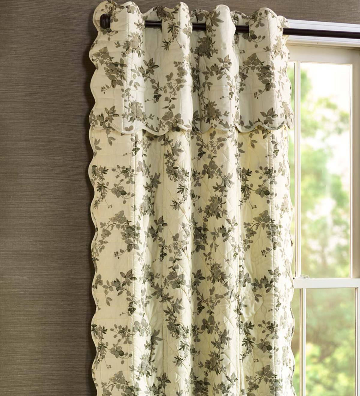 Window Quilt Valance with Ivory Backing, Solid Color