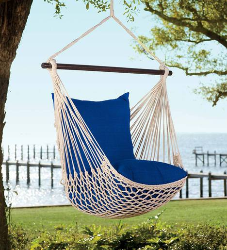 Rope Hammock Swing With Set Of 2 Polyester Pillows 5