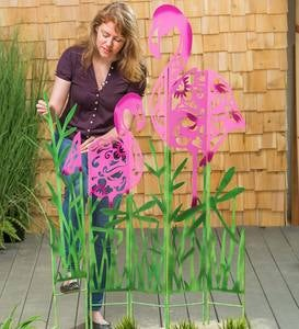 Metal Flamingo Landscape Panel Stakes, Set of 5