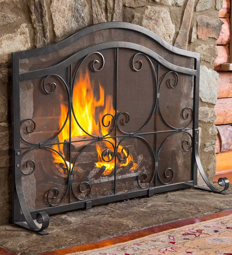 Large Crest Flat Guard Fireplace Screen