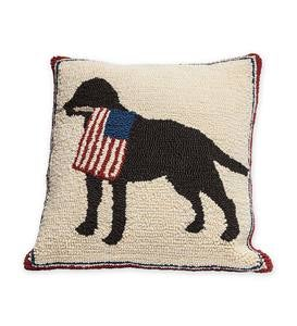 Indoor/Outdoor Patriotic Pooch Throw Pillow