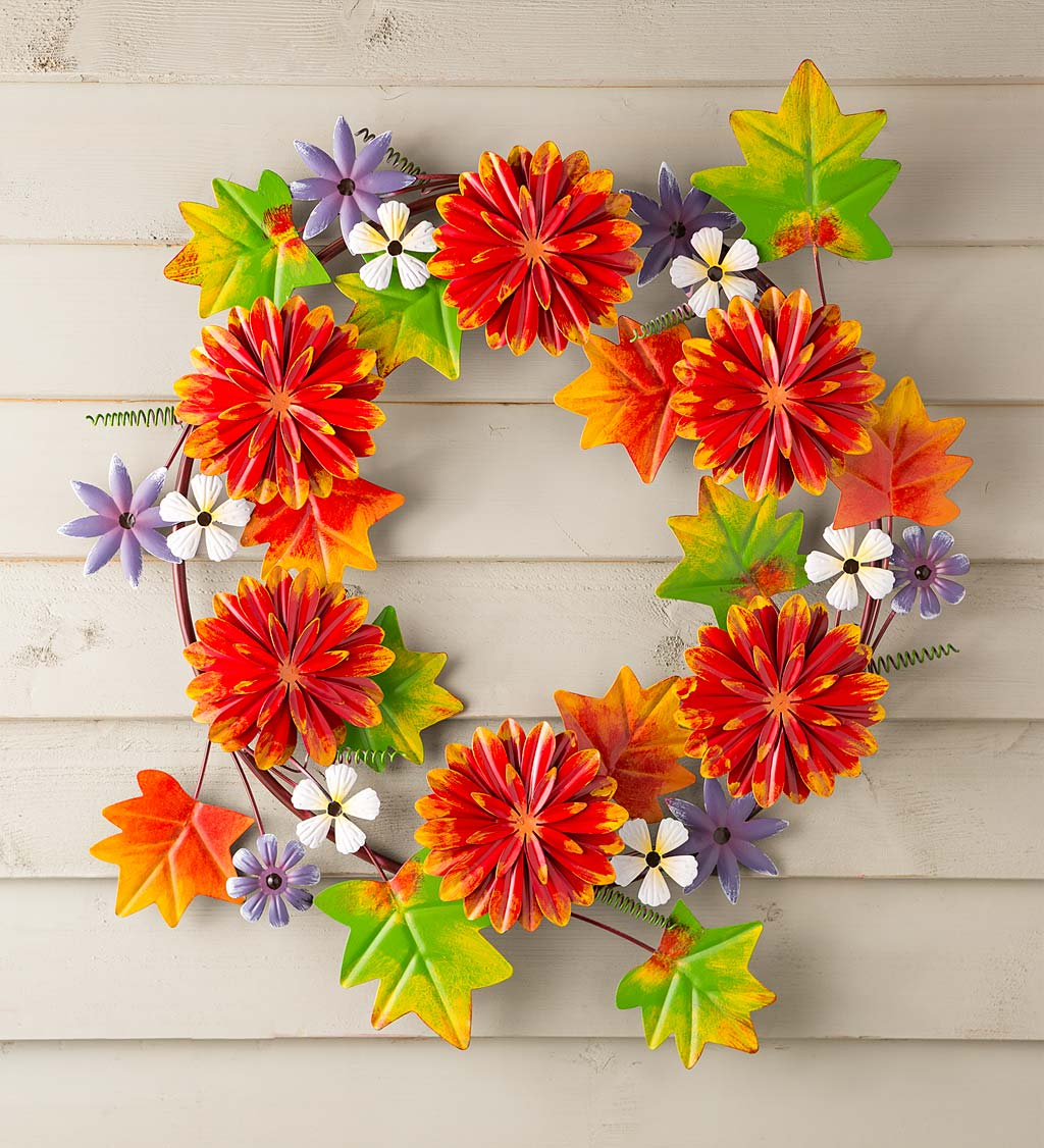 Fall Chrysanthemums Metal Wreath