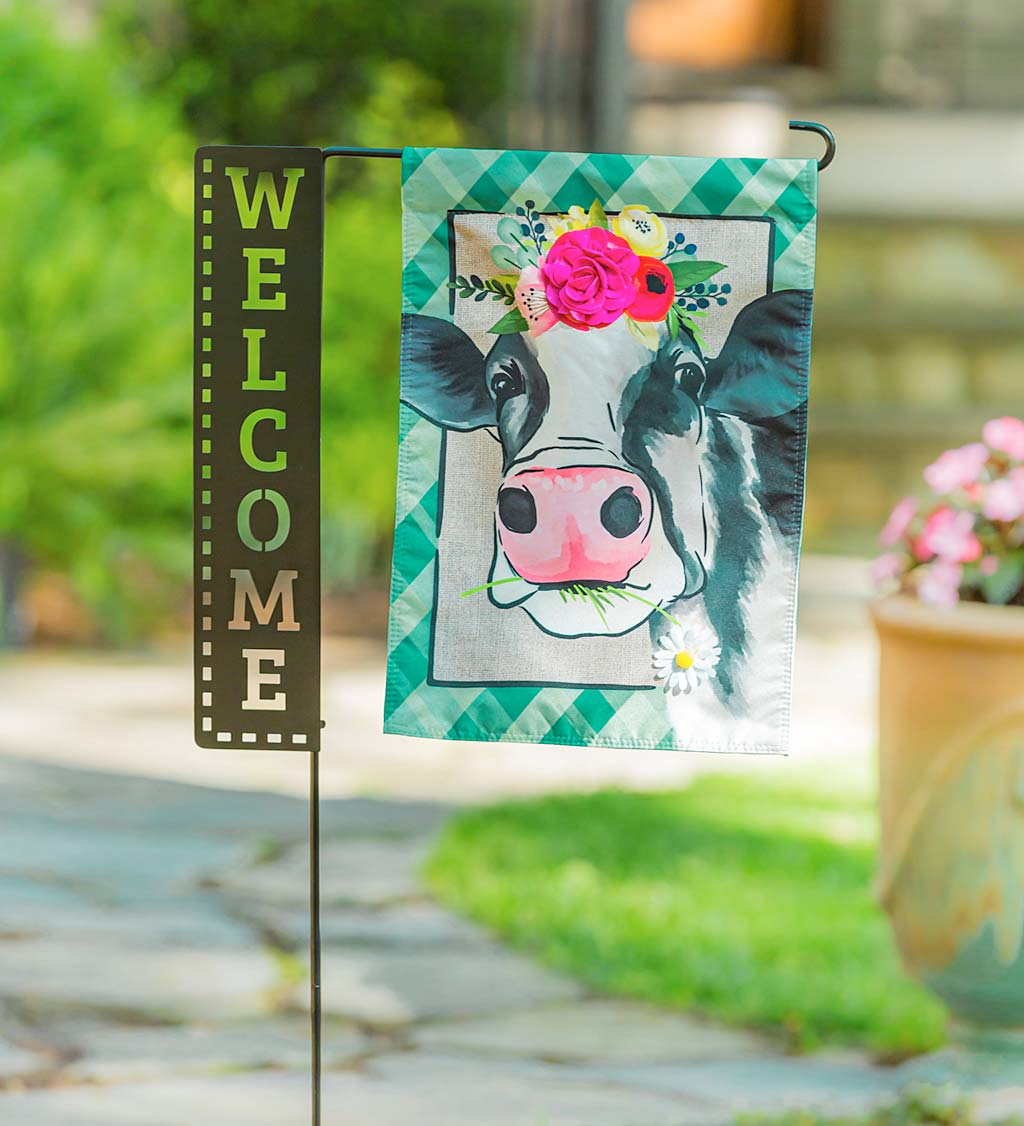 Laser Cut Welcome Sign Garden Flag Stand