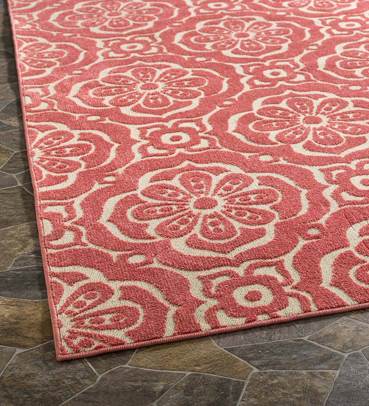 Indoor/Outdoor Clearwater Tile Rug, 5' x 8' - Berry