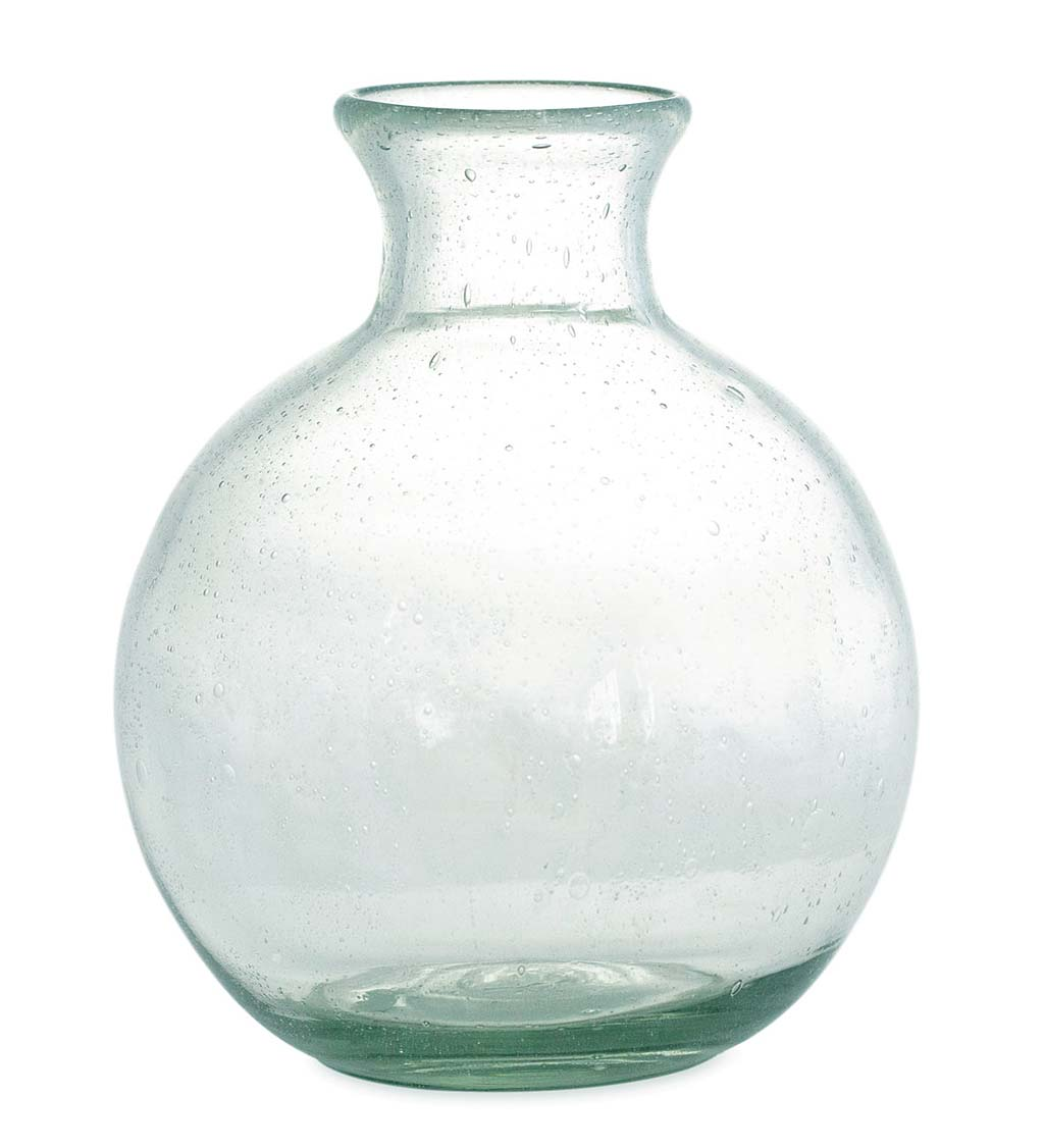 Recycled Clear Glass Round Apothecary Vase