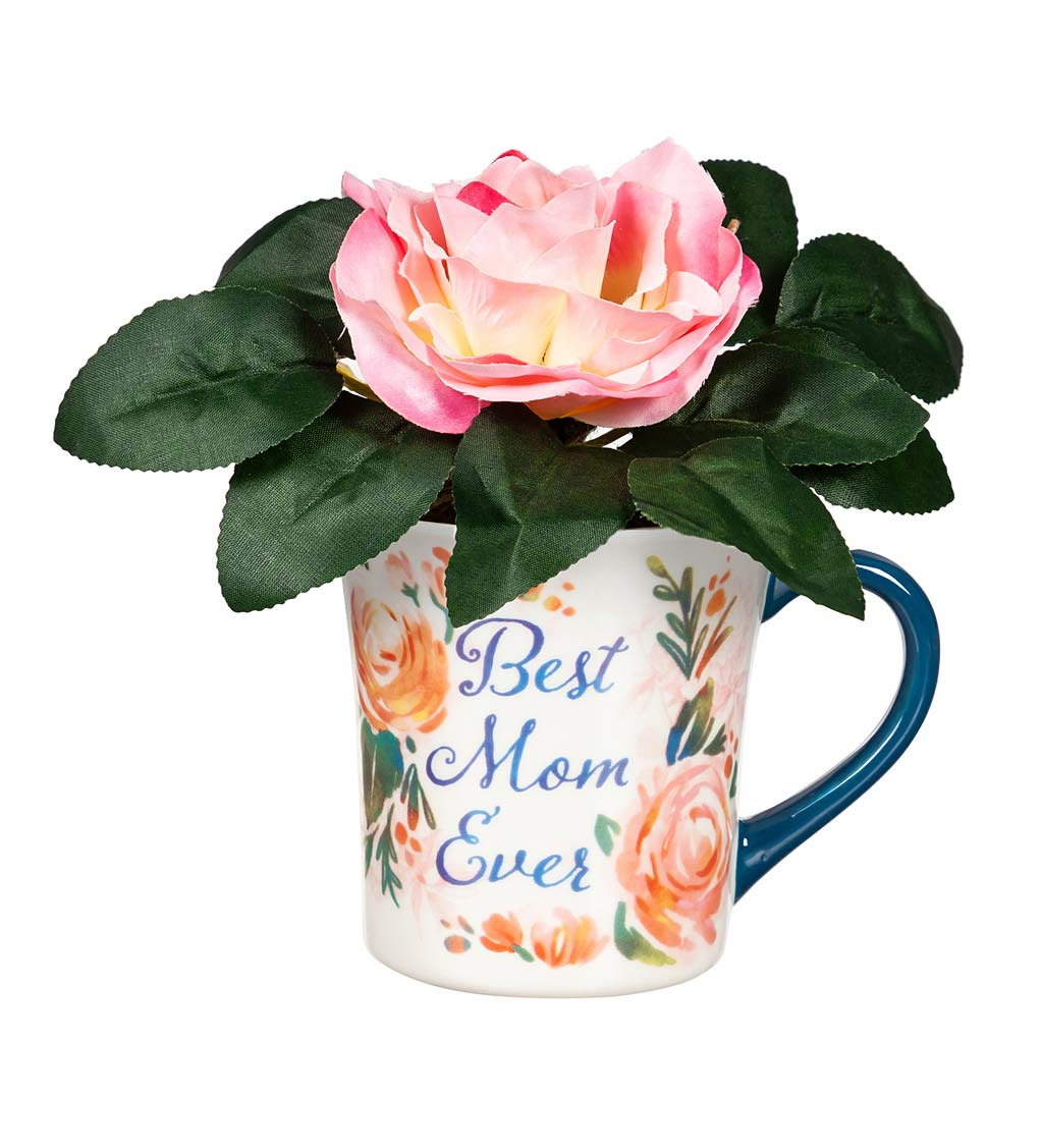 Faux Floral Arrangement with Coffee Cup Gift Set swatch image