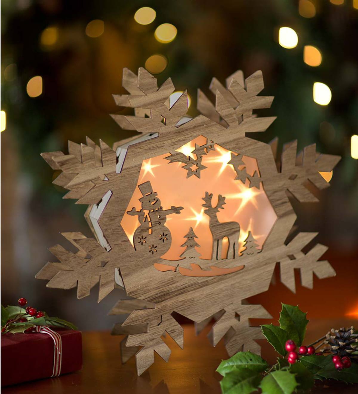 snowflake table decorations.htm lighted wooden snowflake holiday decor plowhearth  lighted wooden snowflake holiday decor