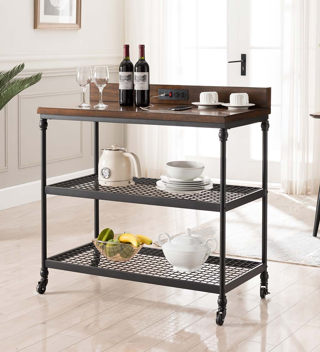 Covington Wheeled Kitchen Cart with Power Outlets and USB Charging Ports