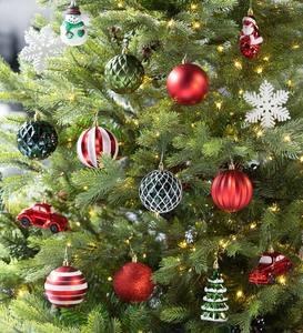 Vintage Style Shatterproof Christmas Tree Ornaments Set Of 24 Plowhearth