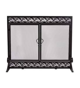 Large Cast Iron Scrollwork Fire Screen With Doors
