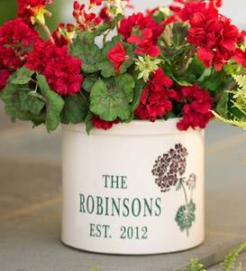 Personalized Stoneware Crock with Geranium Design