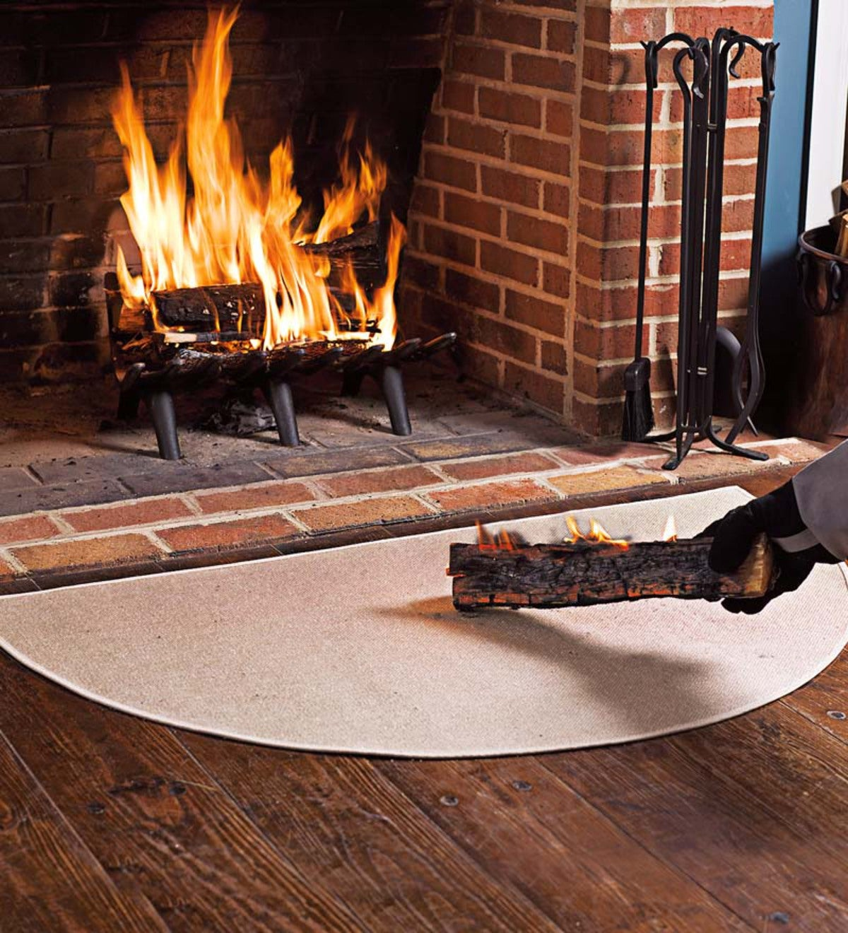 "Flame Resistant Fiberglass Half Round Hearth Rug, 27"" x 48"""