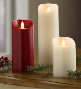 "LED Pillar Candle with Flicker Flame and Auto-Timer, 9""H"