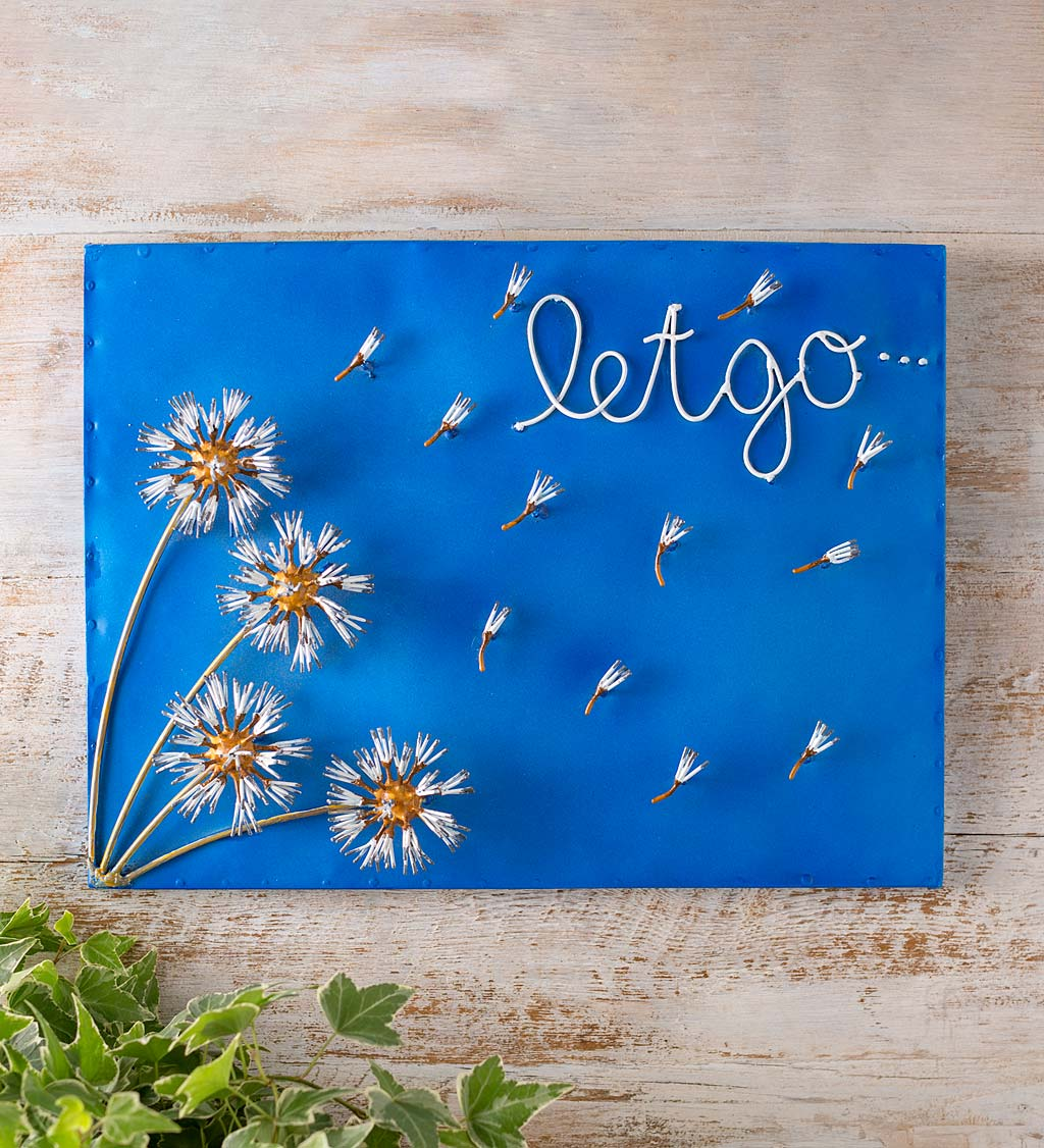 "Handcrafted Metal ""Let Go"" Dandelion Wall Art"