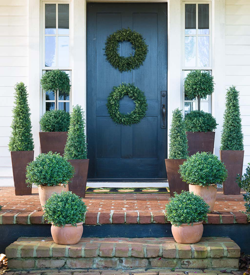 "Faux Boxwood Double Topiary Sphere, 20"" dia."