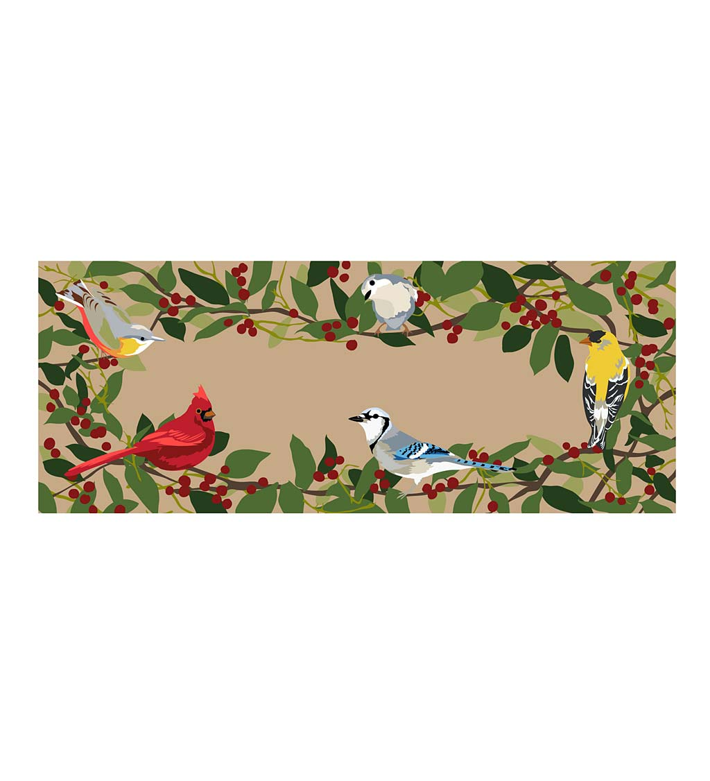 "Indoor/Outdoor Synthetic Blend Birds Border Runner, 24"" x 60"""
