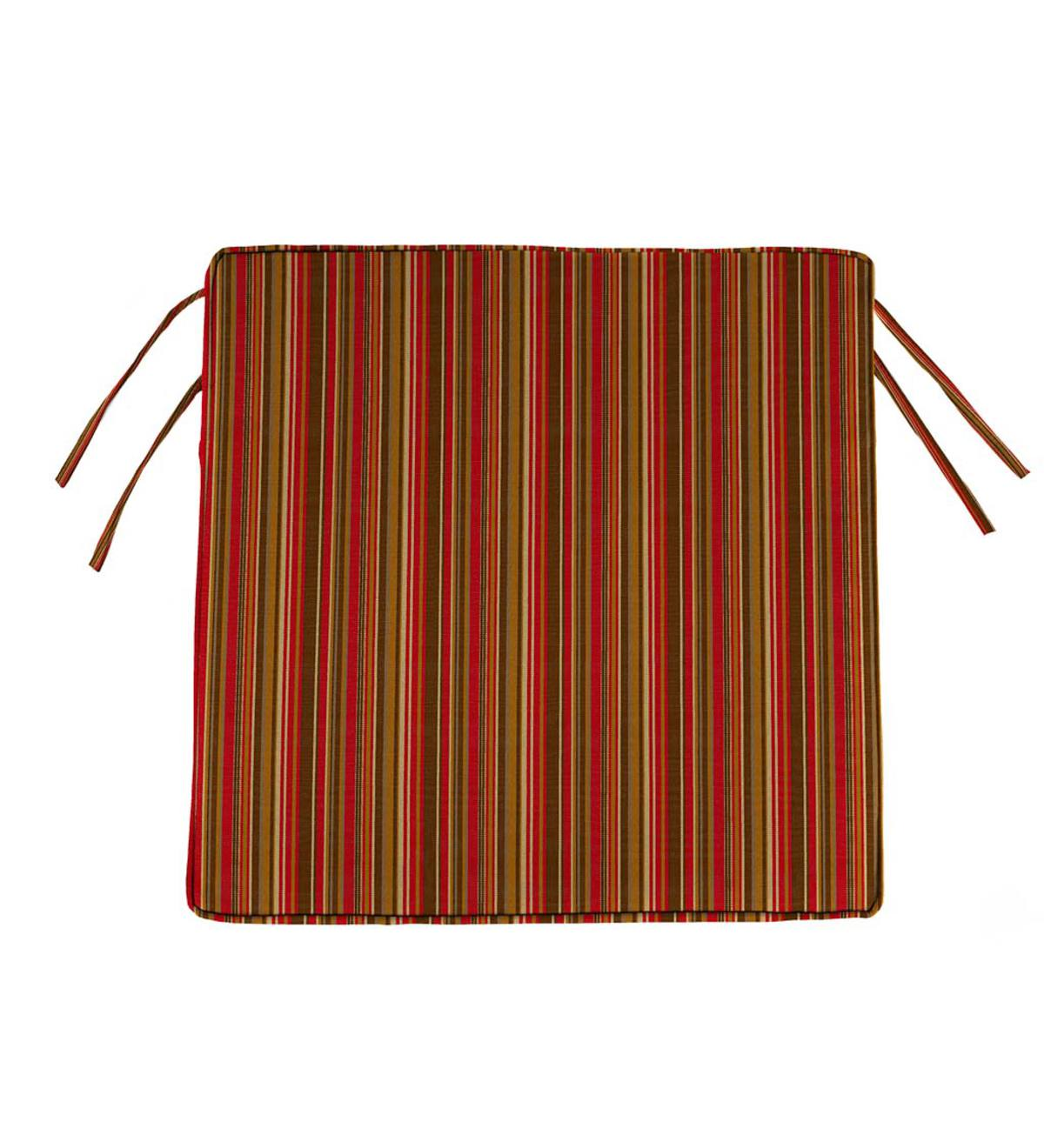 "Sunbrella Classic Chair Cushion with Ties, 20¾"" x 20¼"" x 3"" - Cherry Stripe"