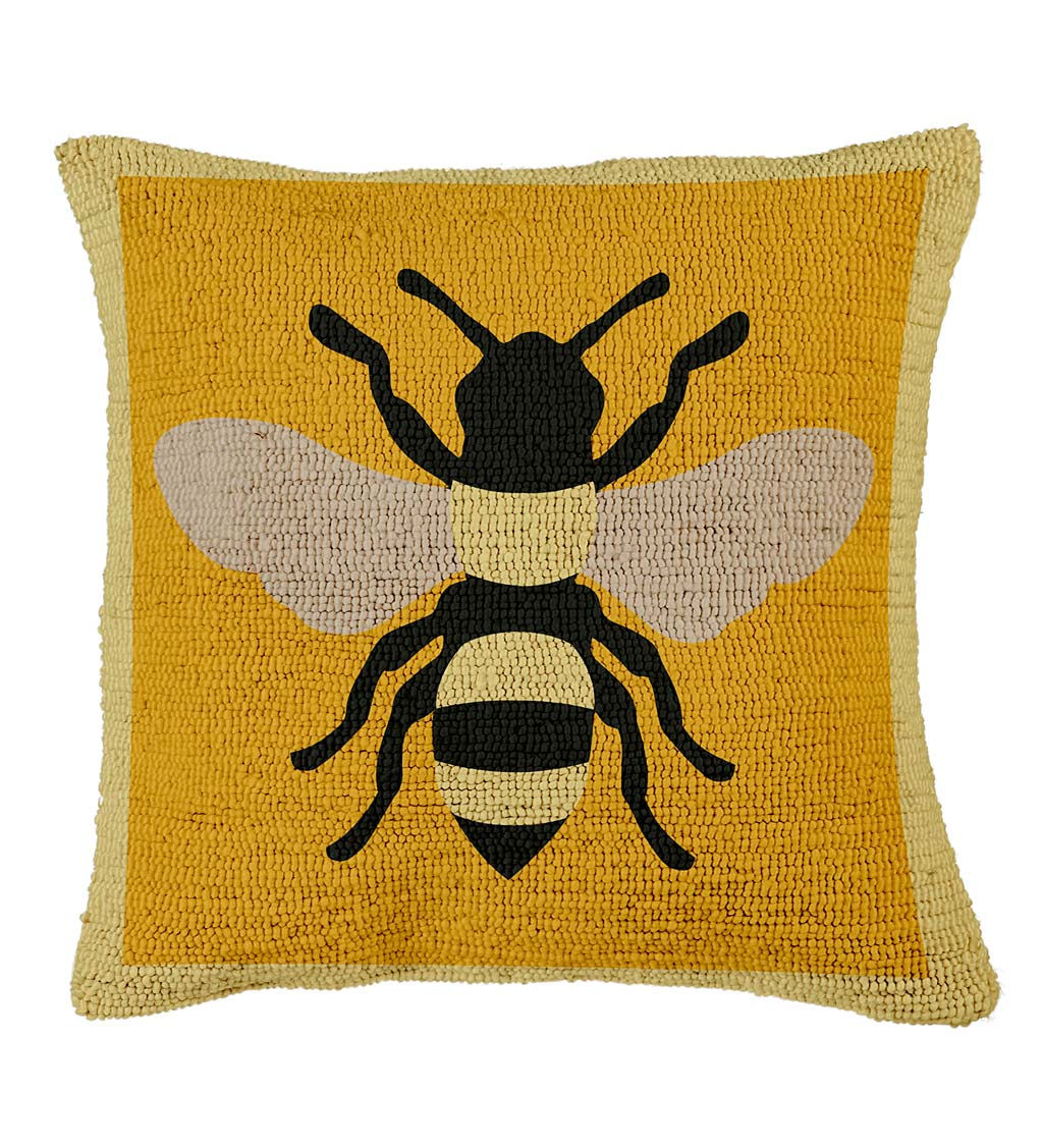 Indoor/Outdoor Hooked Honey Bee Throw Pillow